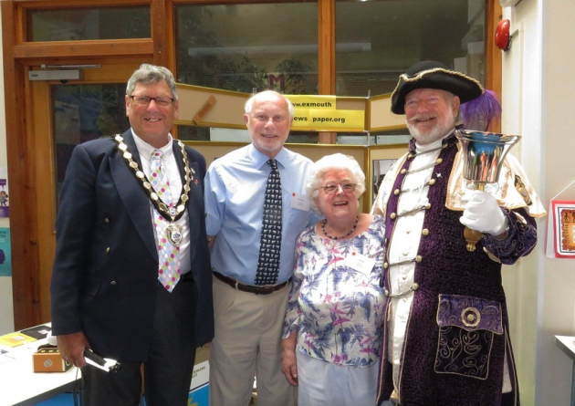 South west talking newspaper conference - Exmouth Mayor, Dr Bob Donald, Mrs Gill Laws, Exmouth Town crier